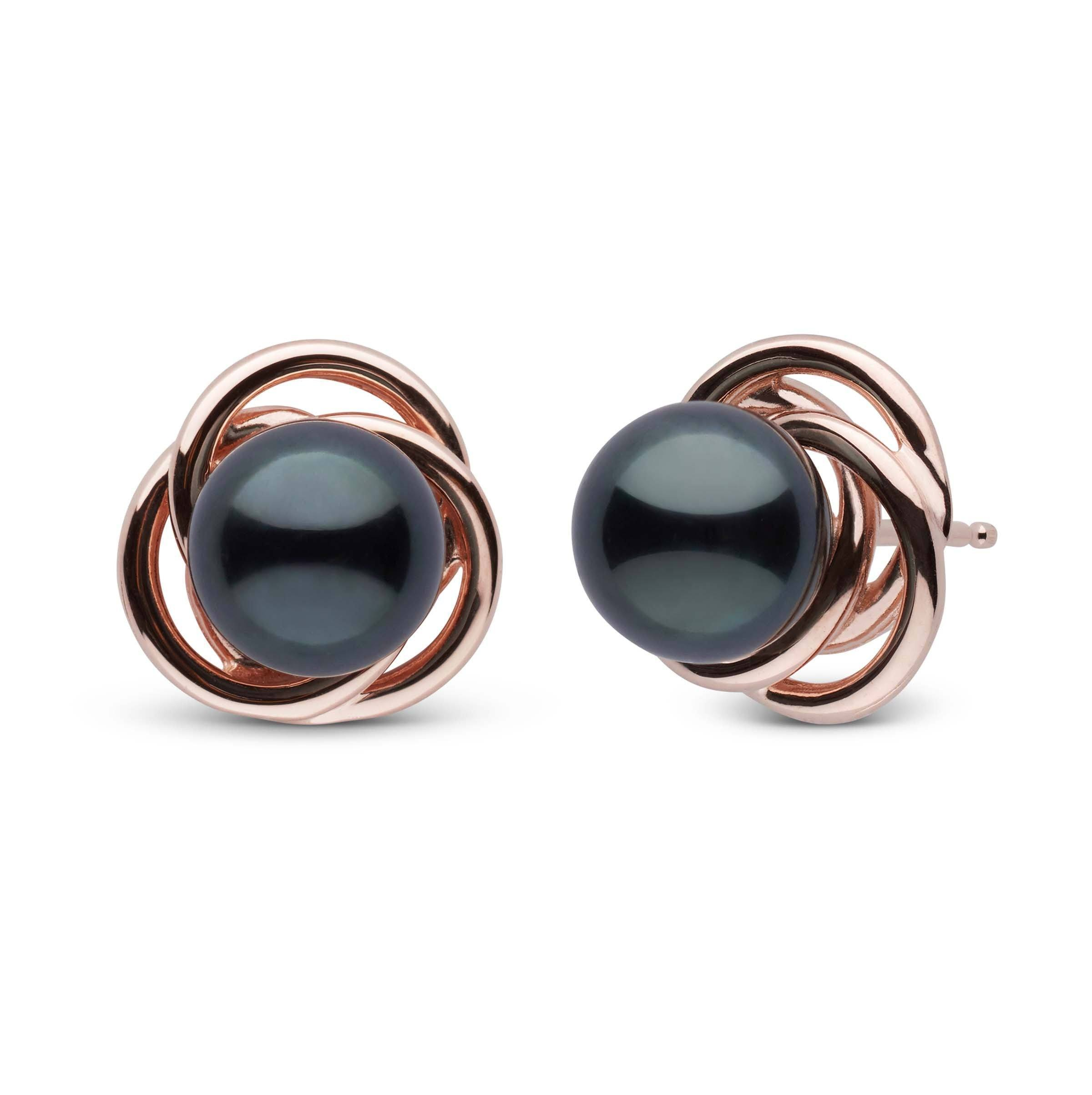 Trilogy Collection Black Akoya Pearl Earrings