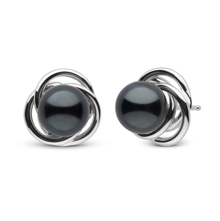 Trilogy Collection Black Akoya Pearl Earrings in Sterling Silver