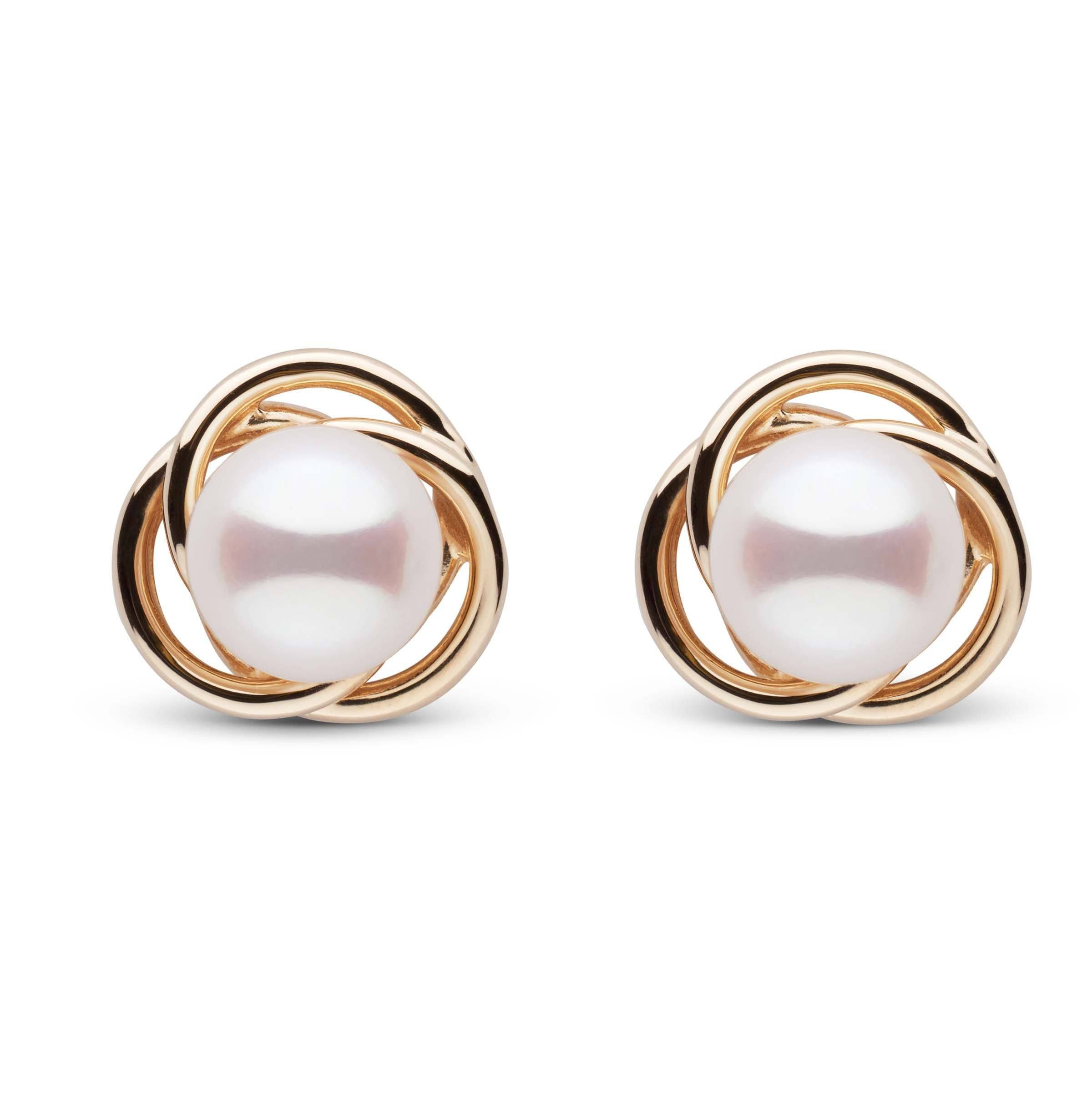 Trilogy Collection White Akoya Pearl Earrings