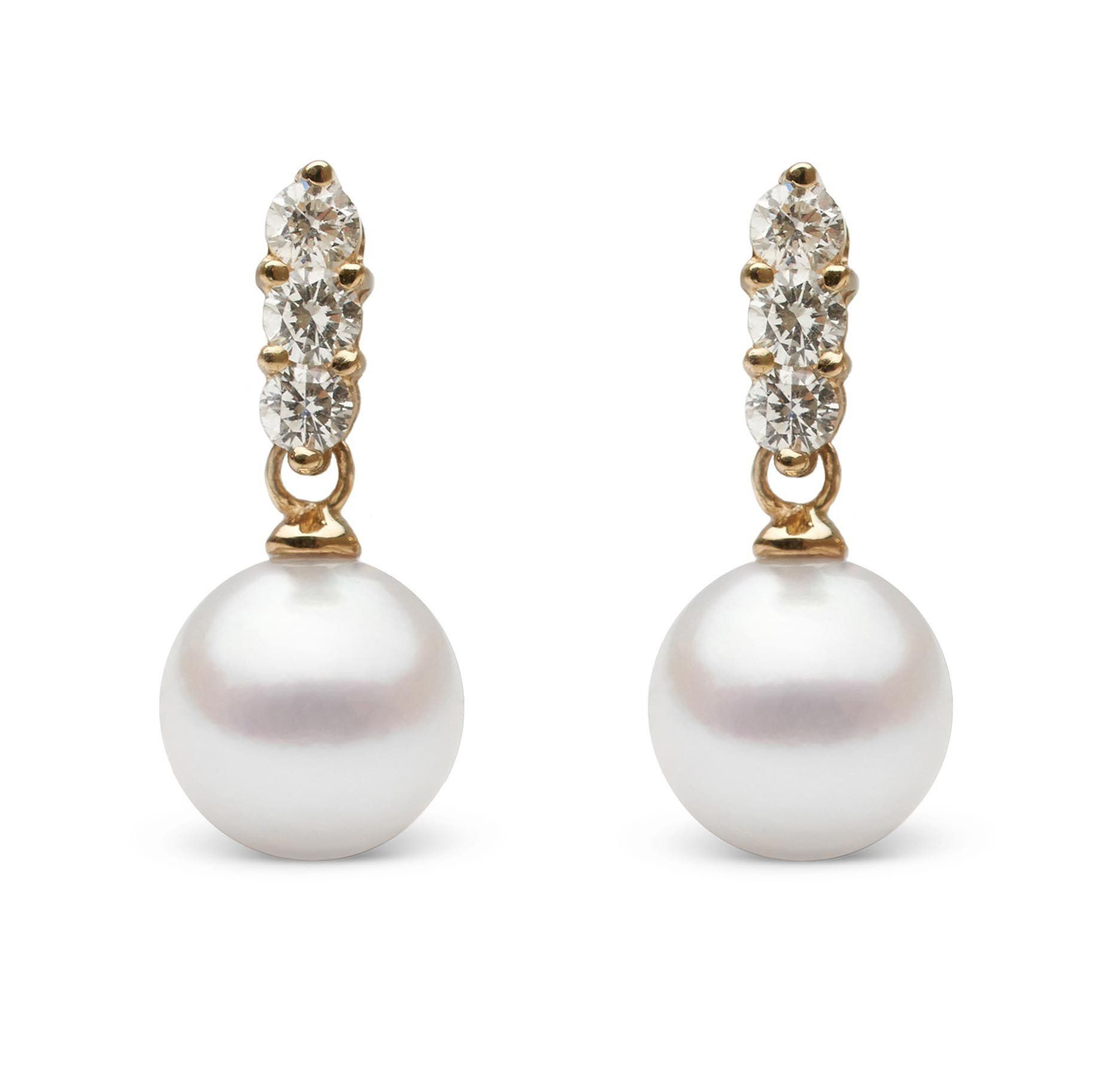 Trio Collection 8.0-8.5 mm Akoya Pearl and Diamond Earrings