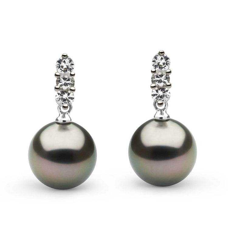 Trio Collection Tahitian 10.0-11.0 mm Pearl and Diamond Earrings