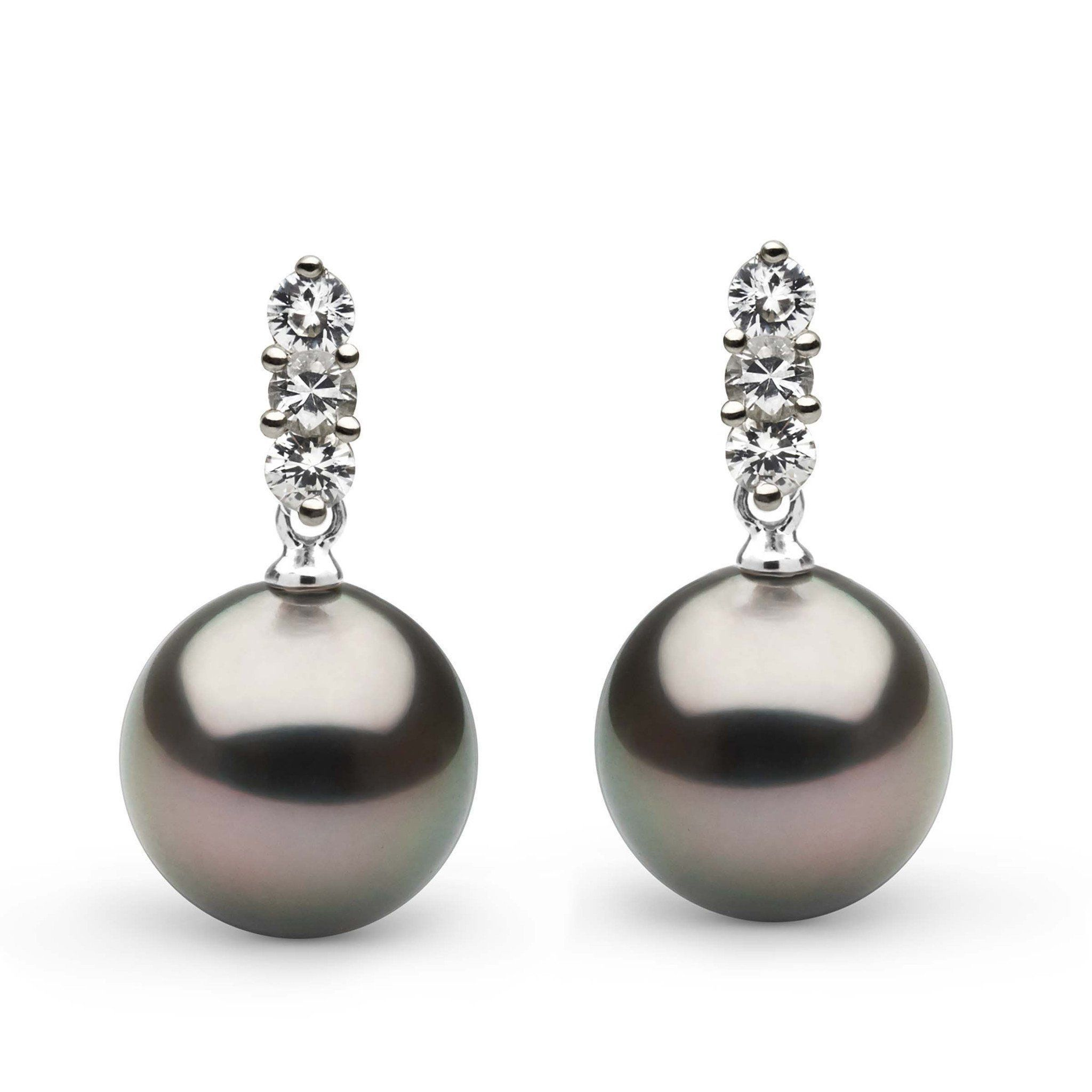Trio Collection Tahitian 11.0-12.0 mm Pearl and Diamond Earrings