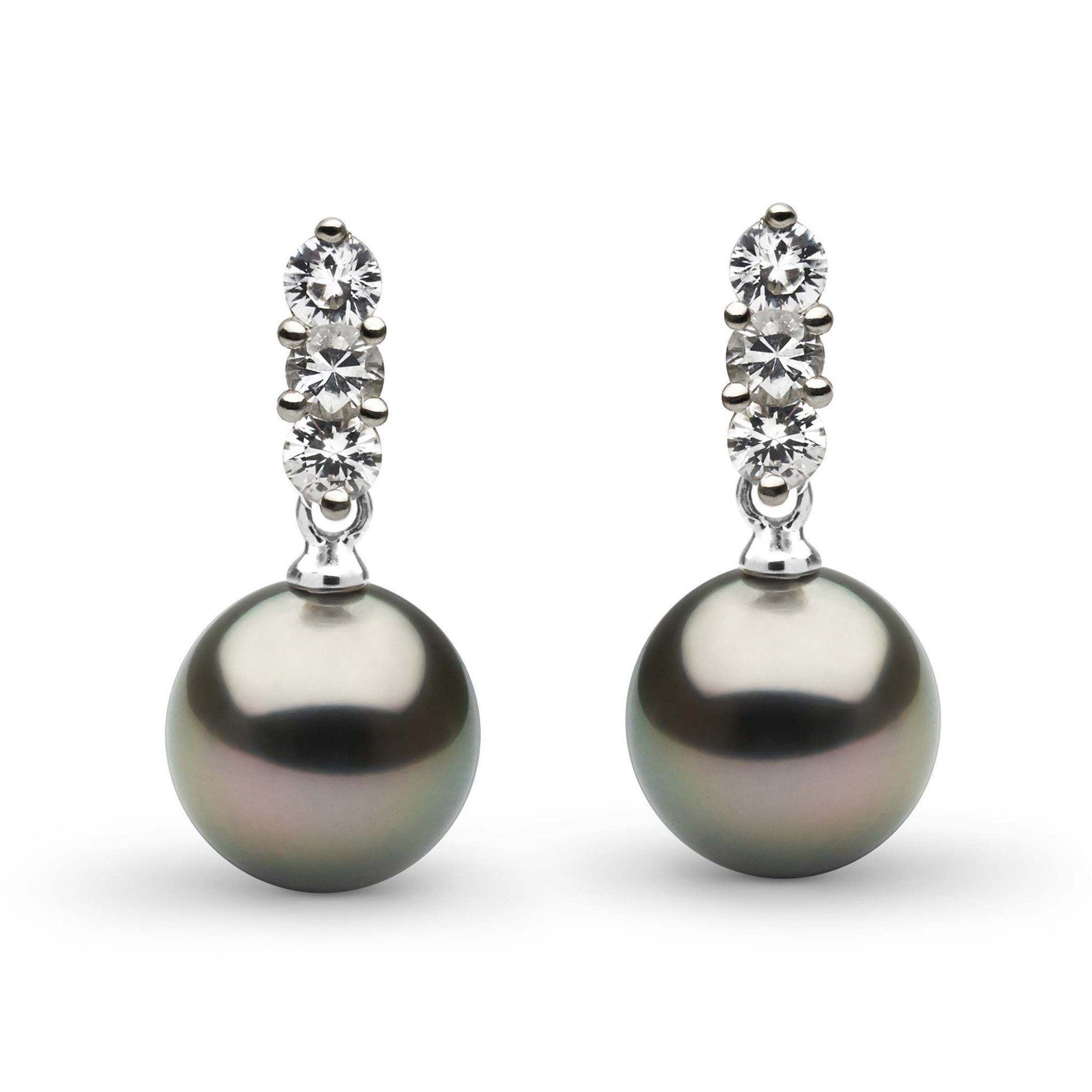 Trio Collection Tahitian 8.0-9.0 mm Pearl and Diamond Earrings