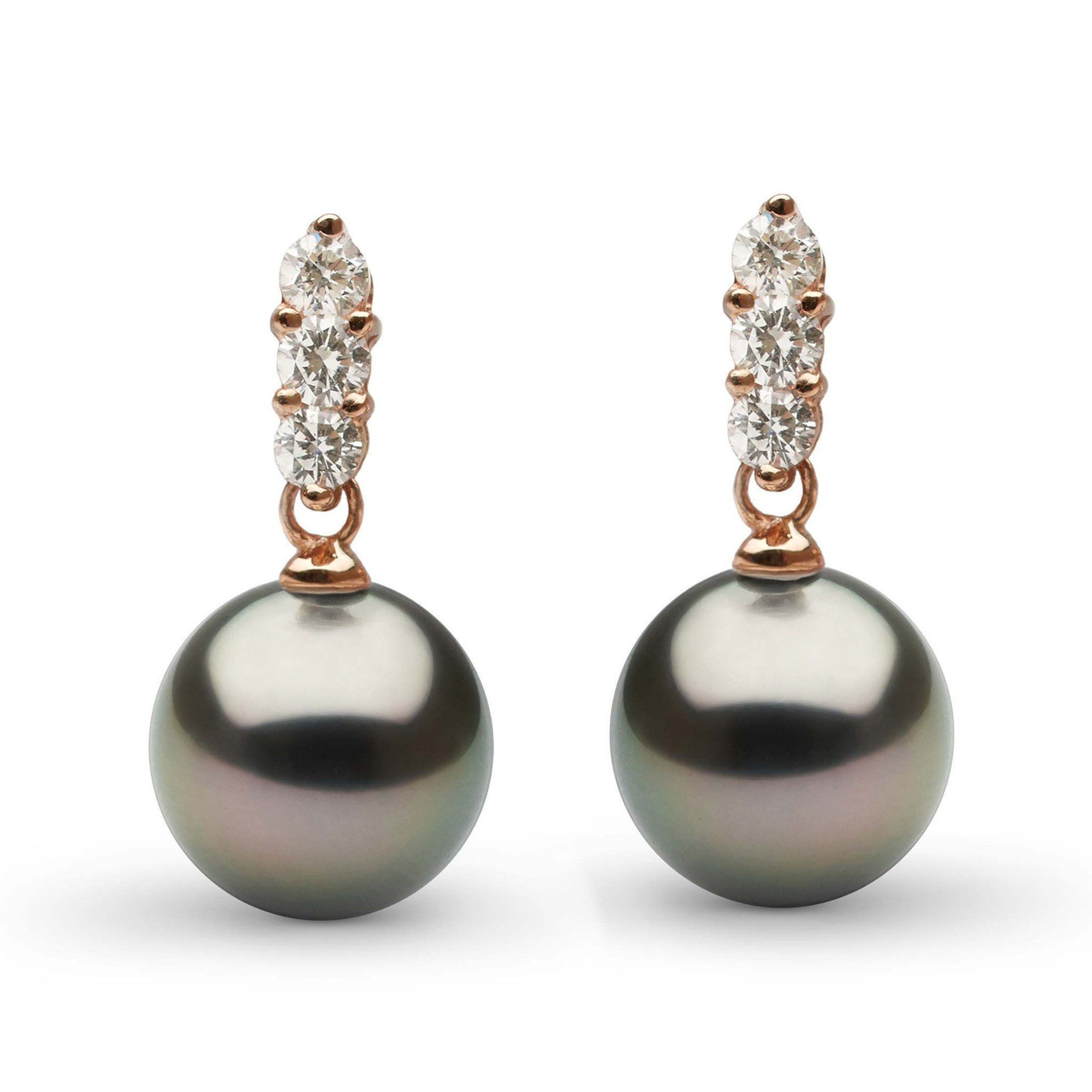 Trio Collection Tahitian 9.0-10.0 mm Pearl and Diamond Earrings