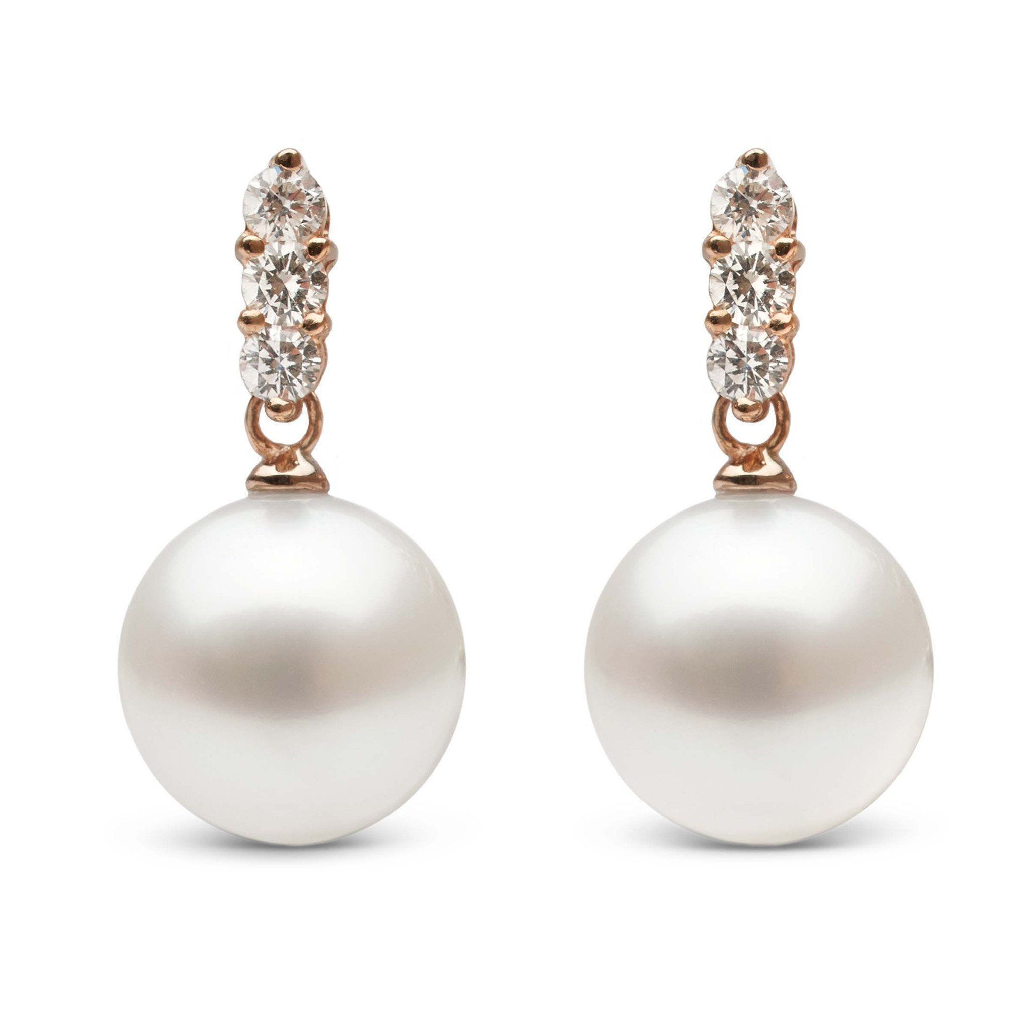 Trio Collection White South Sea Pearl and Diamond Earrings