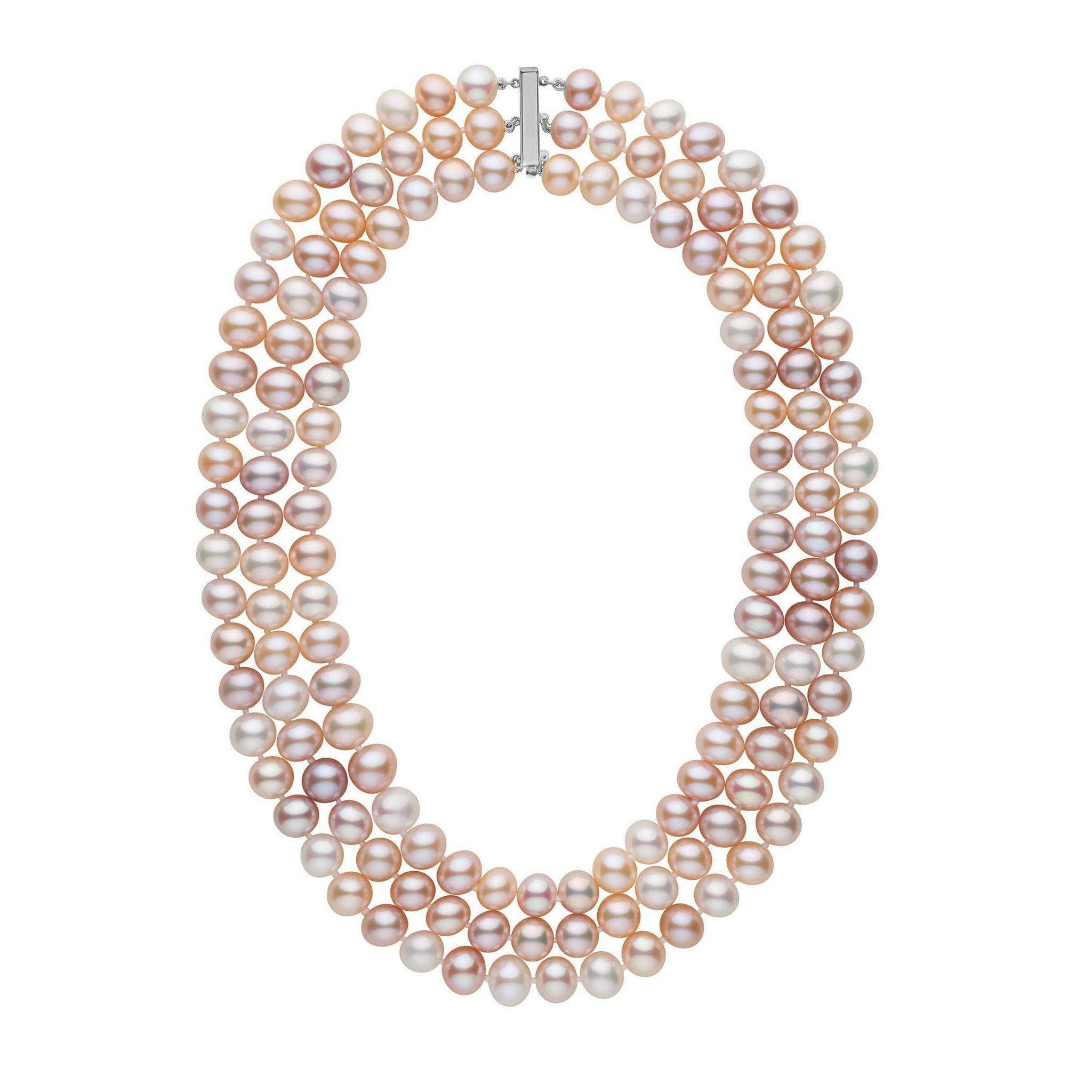 Triple Strand 8.5-9.0 mm AA+ Multicolor Freshwater Pearl Necklace
