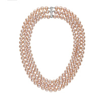 Triple Strand 8.5-9.0 mm AA+ Pink to Peach Freshwater Pearl Necklace