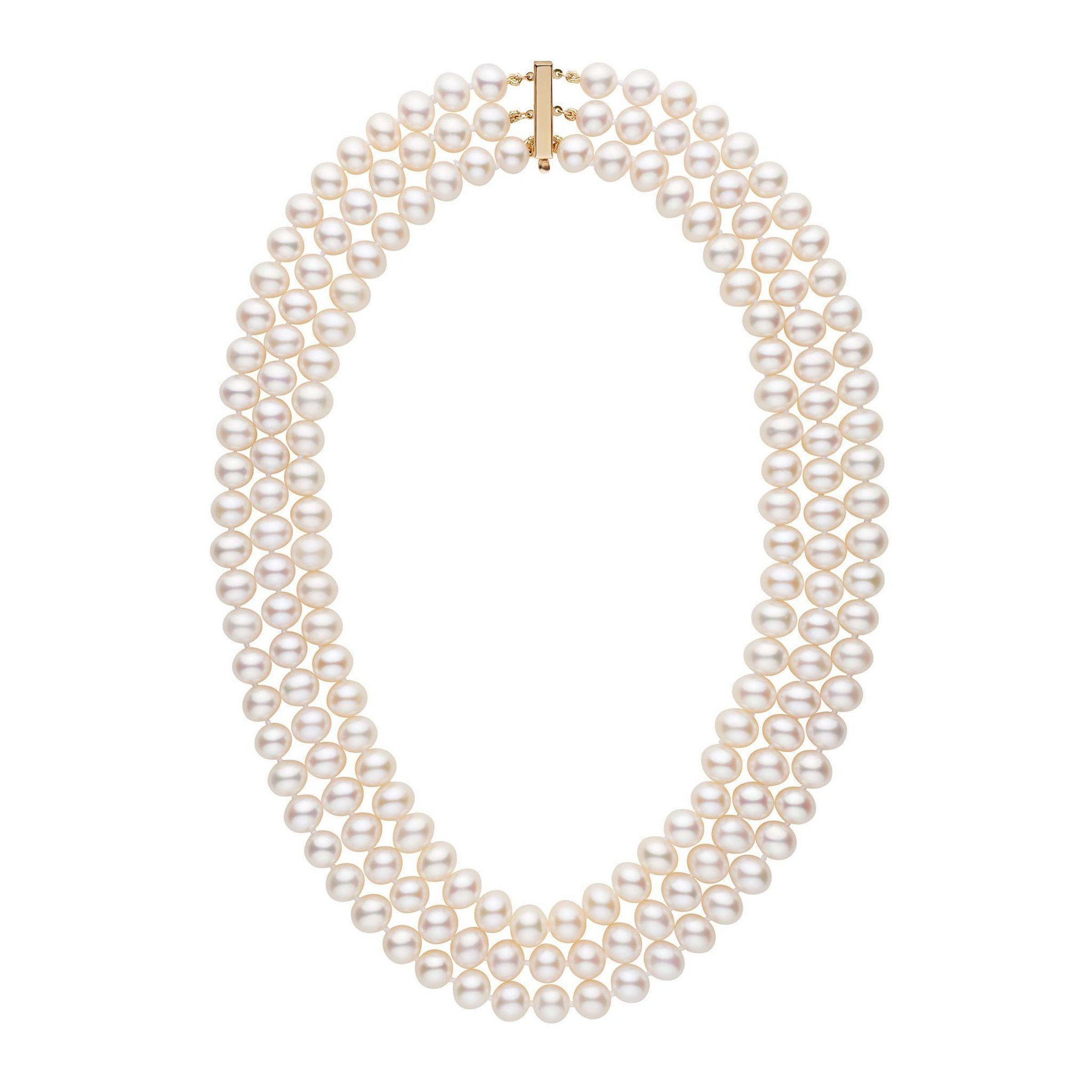 Triple Strand 8.5-9.0 mm AA+ White Freshwater Pearl Necklace