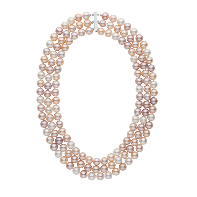 Triple Strand 8.5-9.0 mm AAA Multicolor Freshwater Pearl Necklace