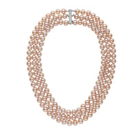Triple Strand 8.5-9.0 mm AAA Pink to Peach Freshwater Pearl Necklace
