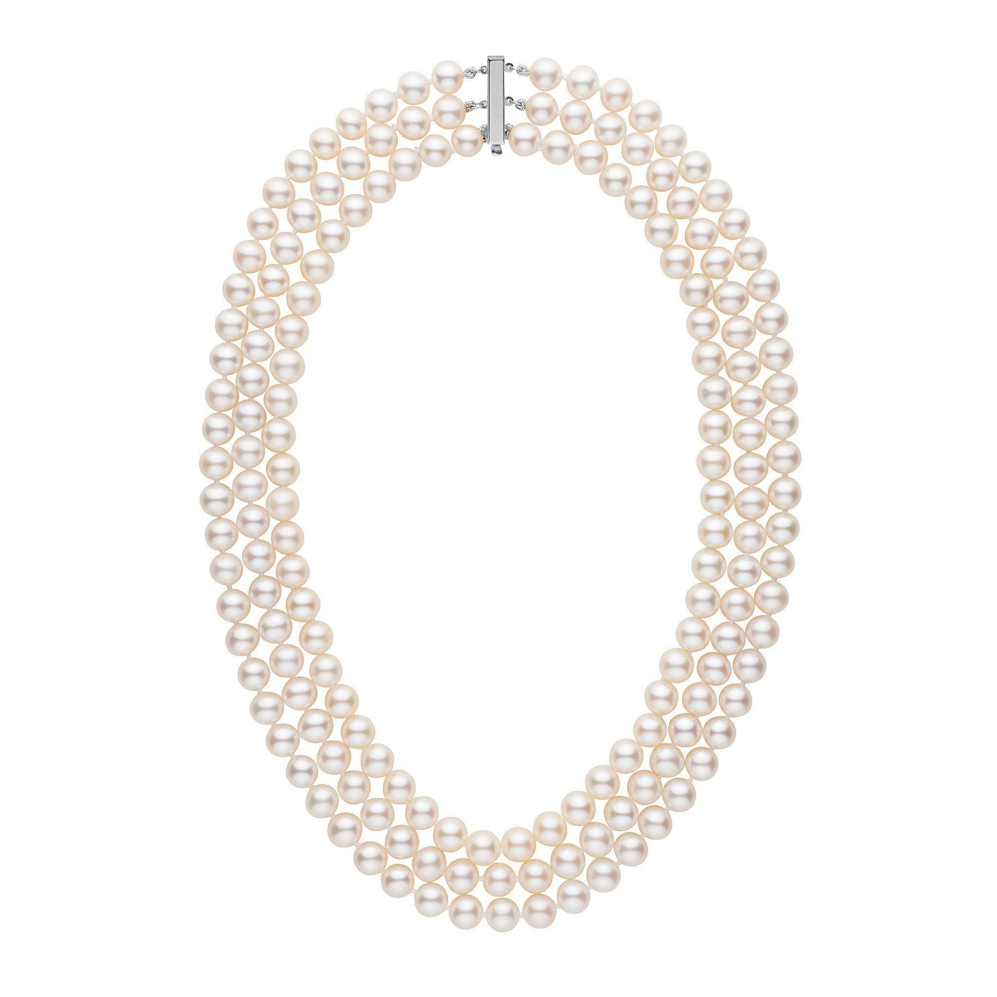 Triple Strand 8 5-9 0 mm AAA White Freshwater Pearl Necklace