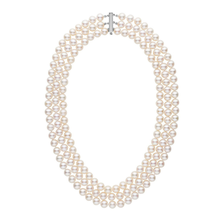Triple Strand 8.5-9.0 mm AAA White Freshwater Pearl Necklace