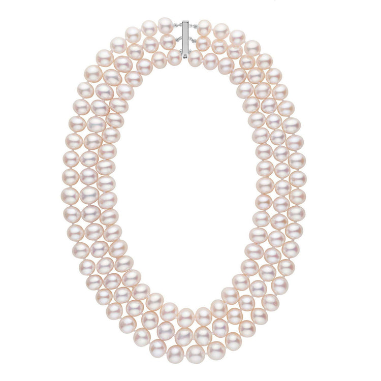 Triple Strand 9.5-10.5 mm AA+ White Freshwater Pearl Necklace