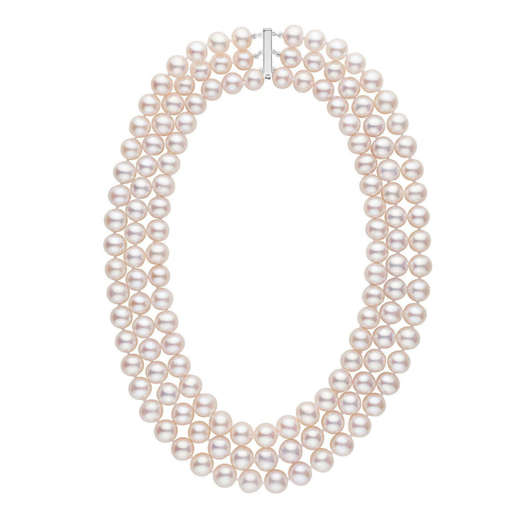 Triple Strand 9.5-10.5 mm AAA White Freshwater Pearl Necklace