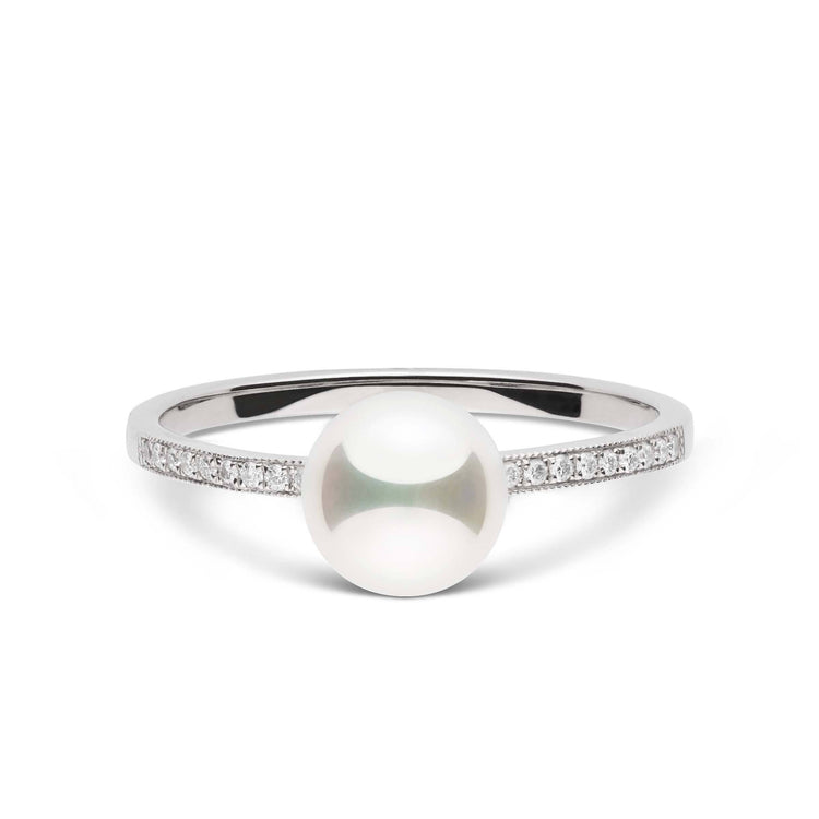 Twinkle Collection White Freshadama Pearl and Diamond Ring