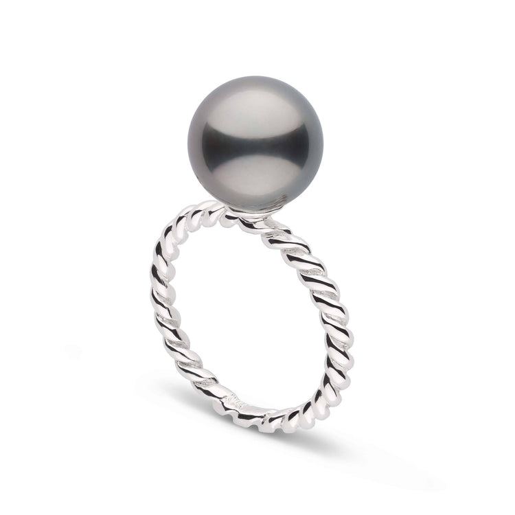 Twist Collection 10.0-11.0 mm Tahitian Pearl Ring in Sterling Silver