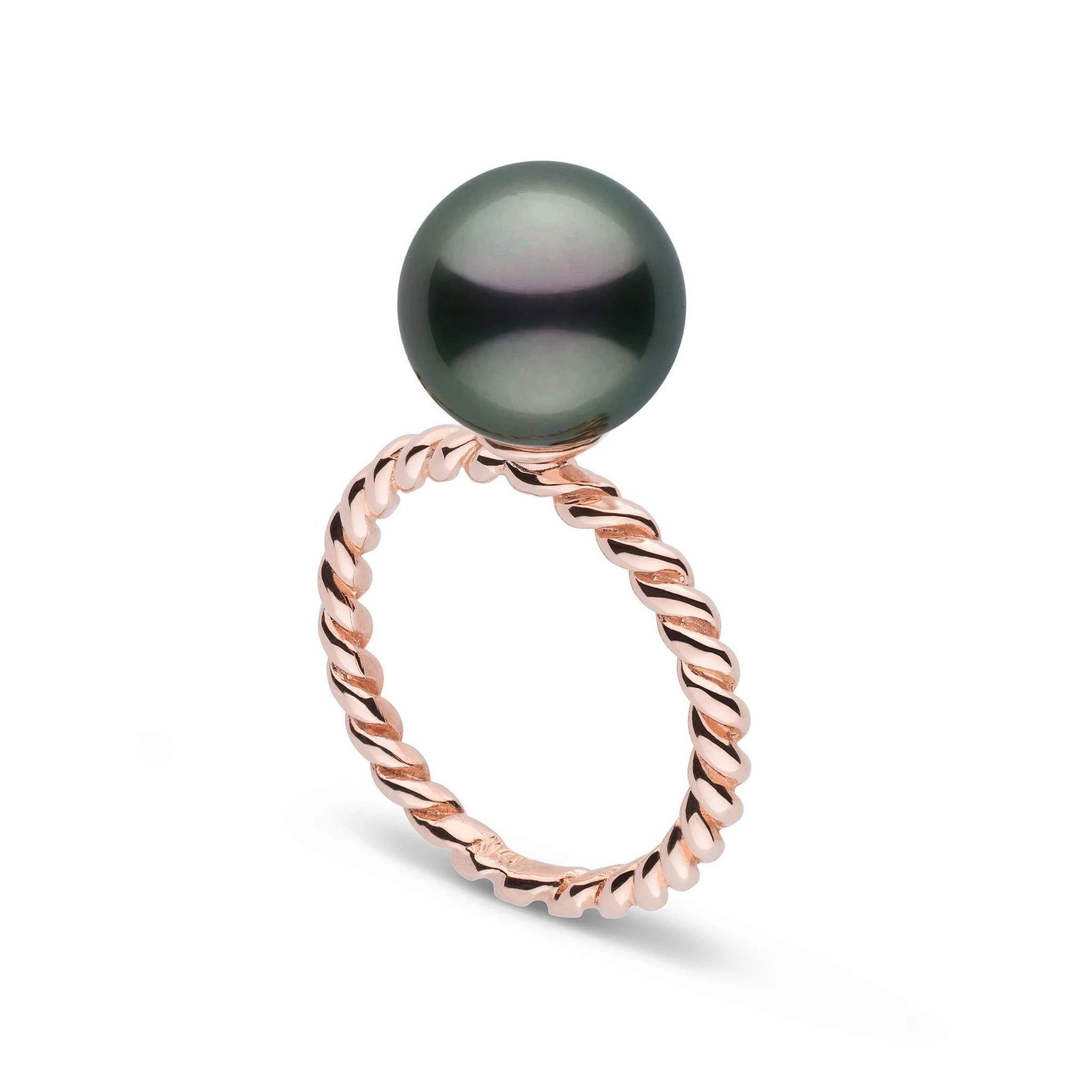 Twist Collection 10.0-11.0 mm Tahitian Pearl Ring - Rose Gold
