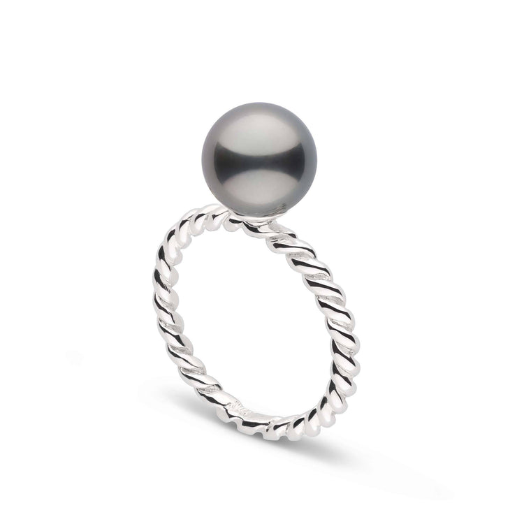 Twist Collection 8.0-9.0 mm Tahitian Pearl Ring in Sterling Silver