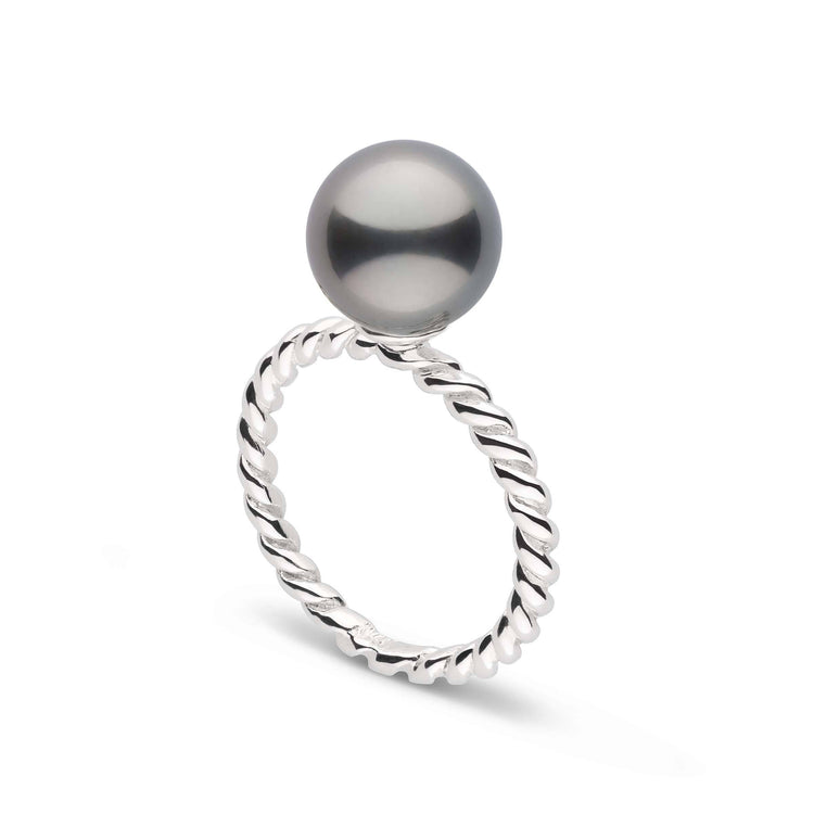 Twist Collection 9.0-10.0 mm Tahitian Pearl Ring in Sterling Silver
