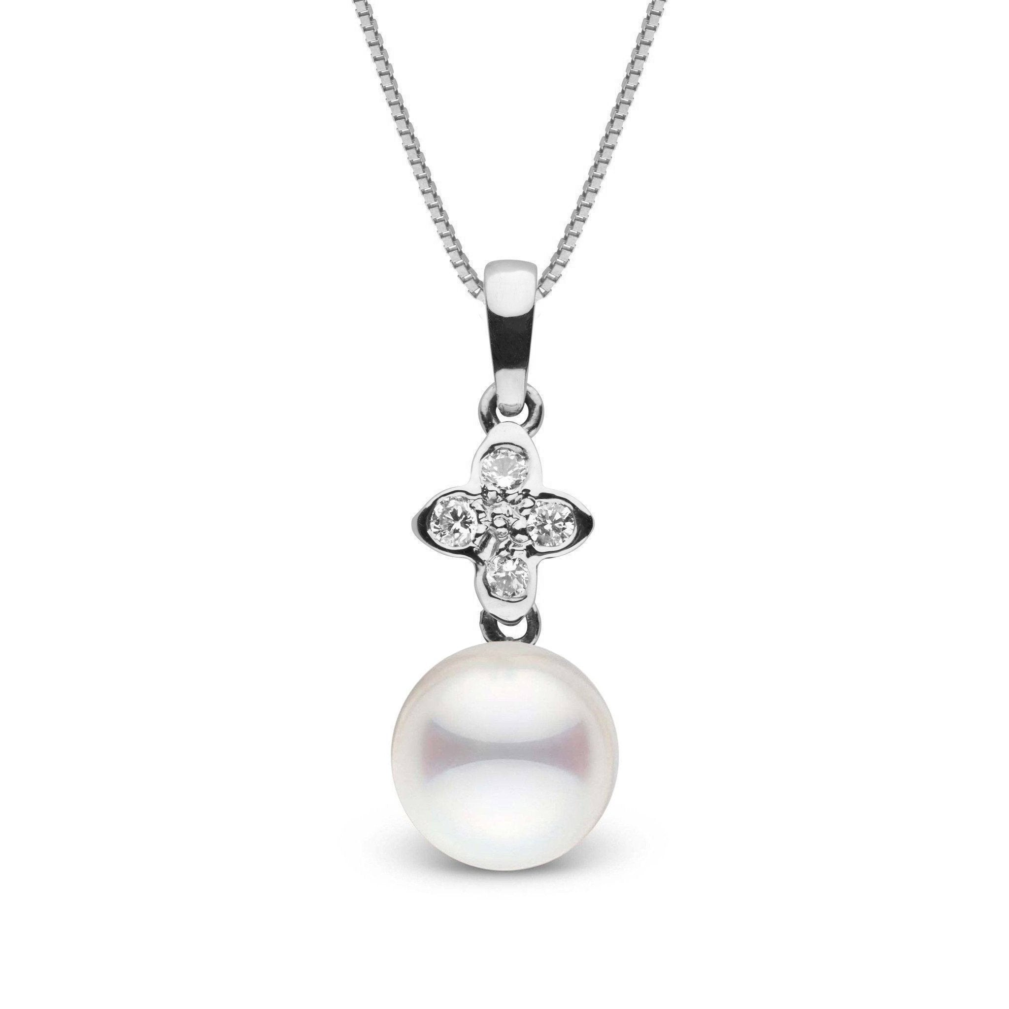 Violet Collection 8.0-8.5 mm Akoya Pearl and Diamond Pendant
