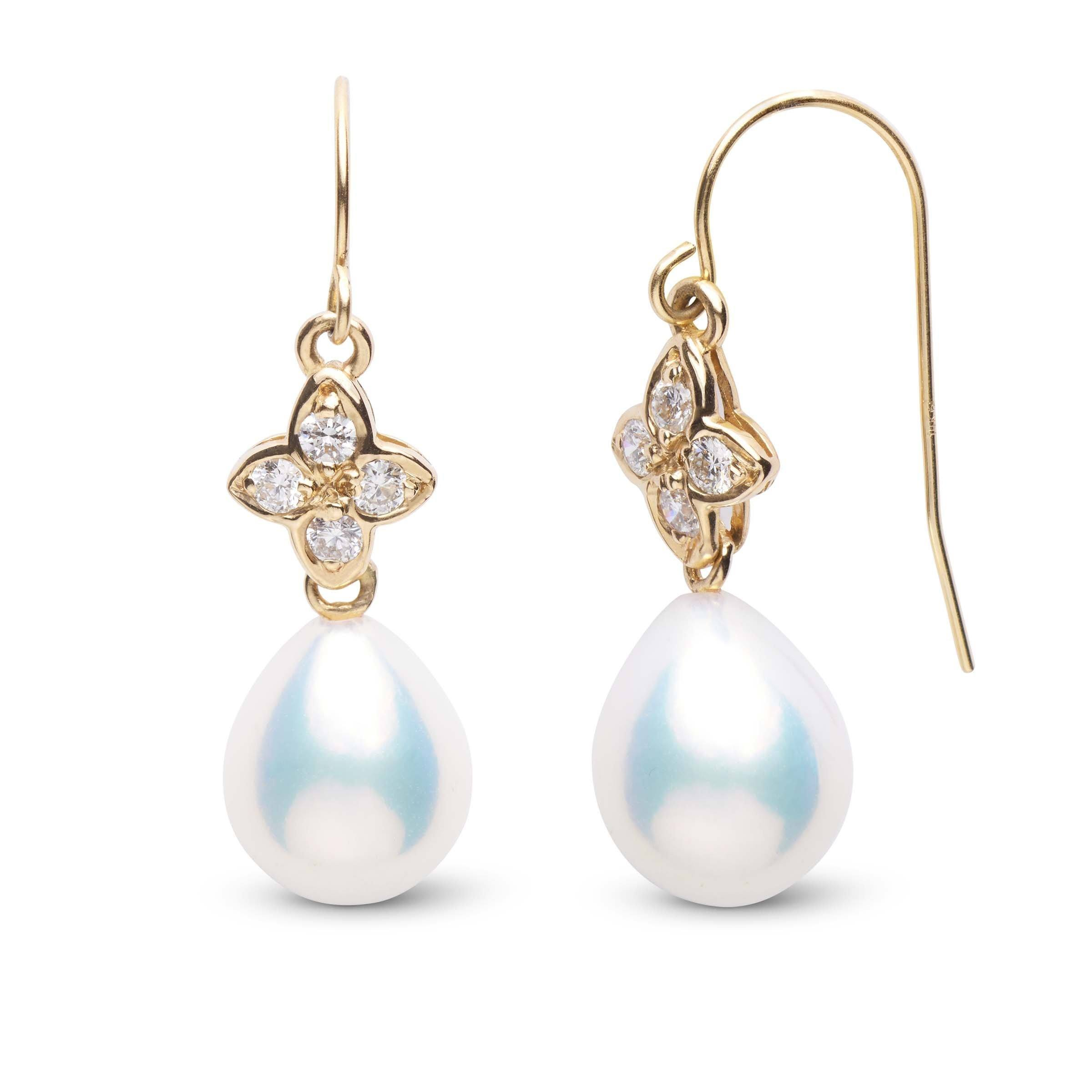 Violet Collection Metallic Freshwater Drop Pearl and Diamond Earrings