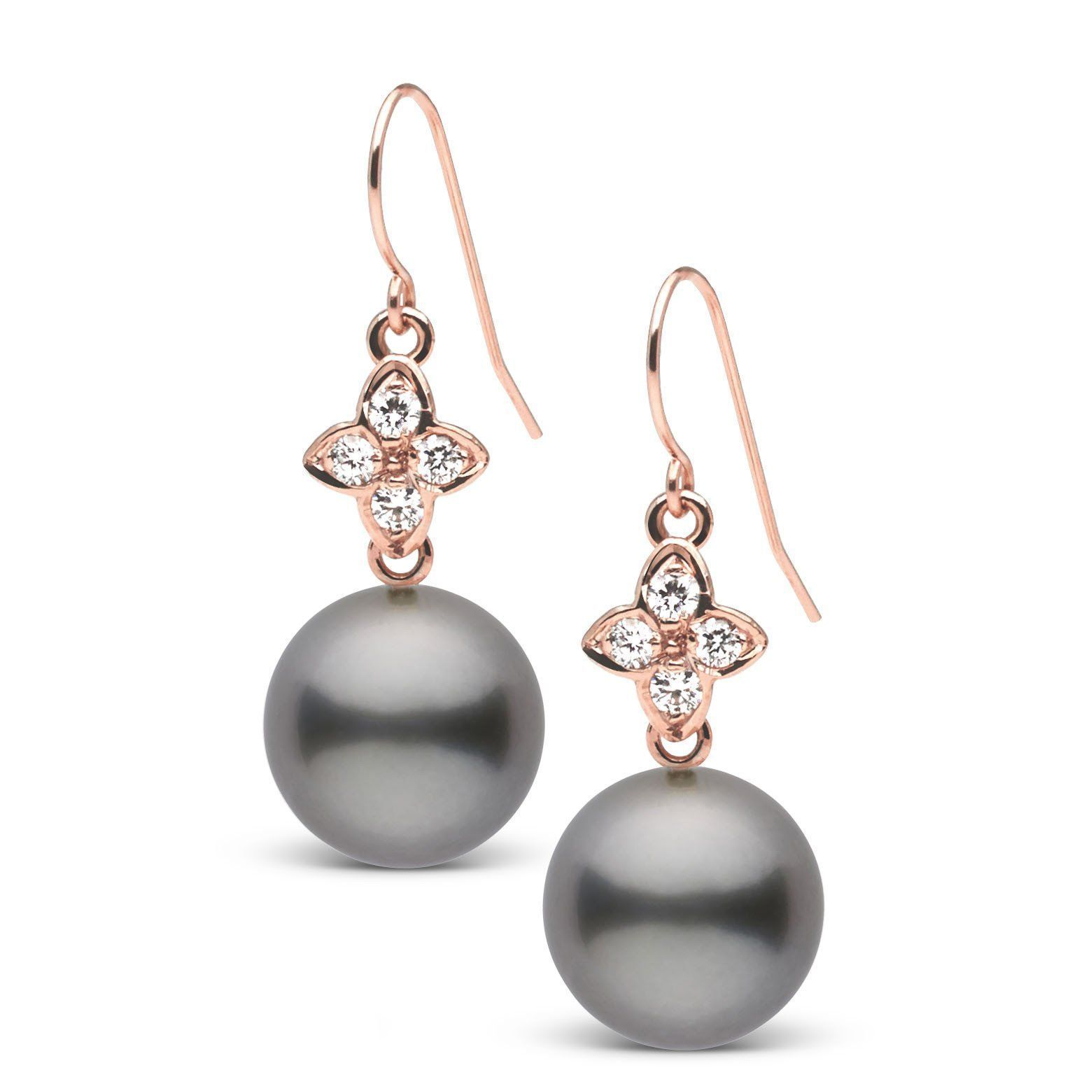 Violet Collection Tahitian 10.0-11.0 mm Pearl and Diamond Earrings