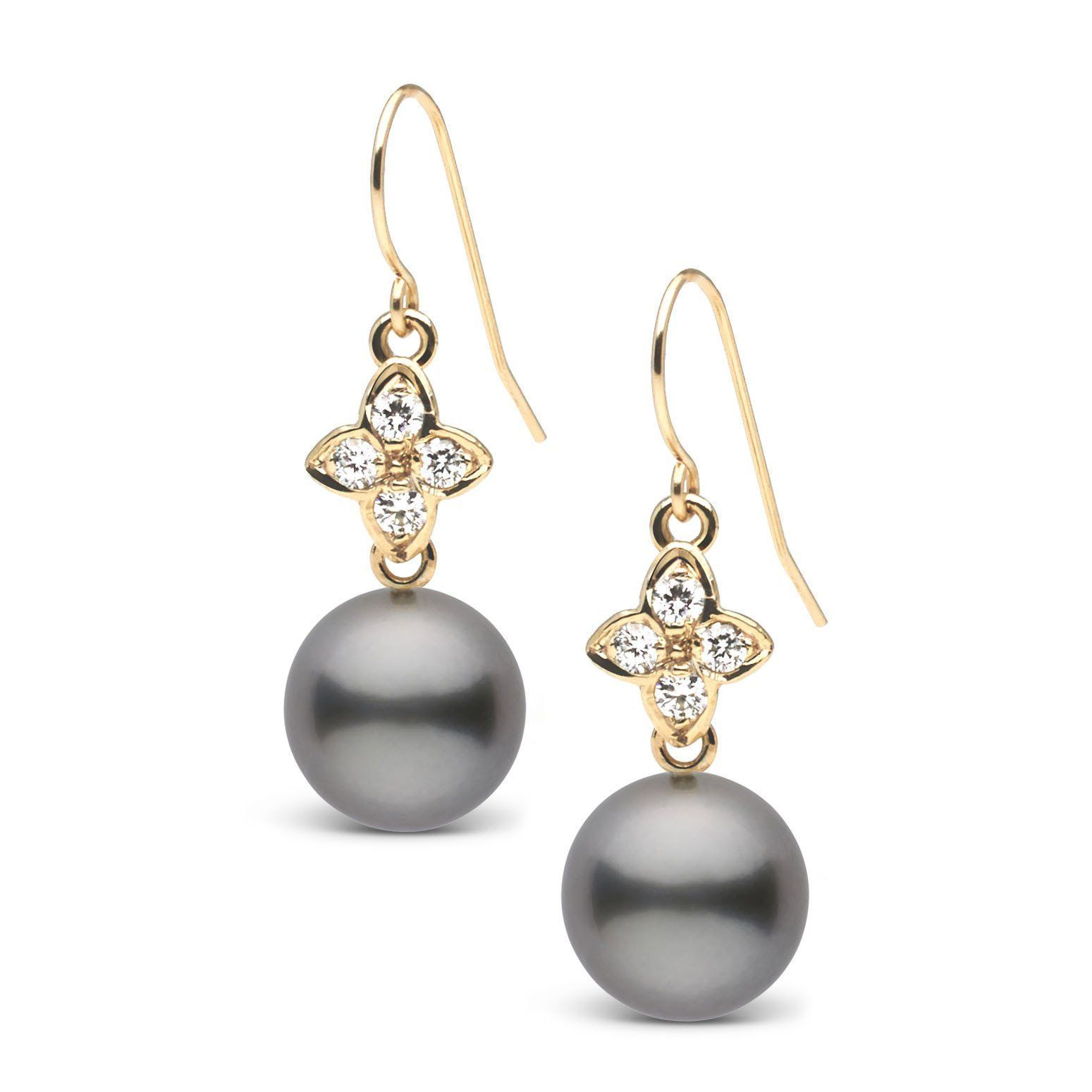 Violet Collection Tahitian 8.0-9.0 mm Pearl and Diamond Earrings