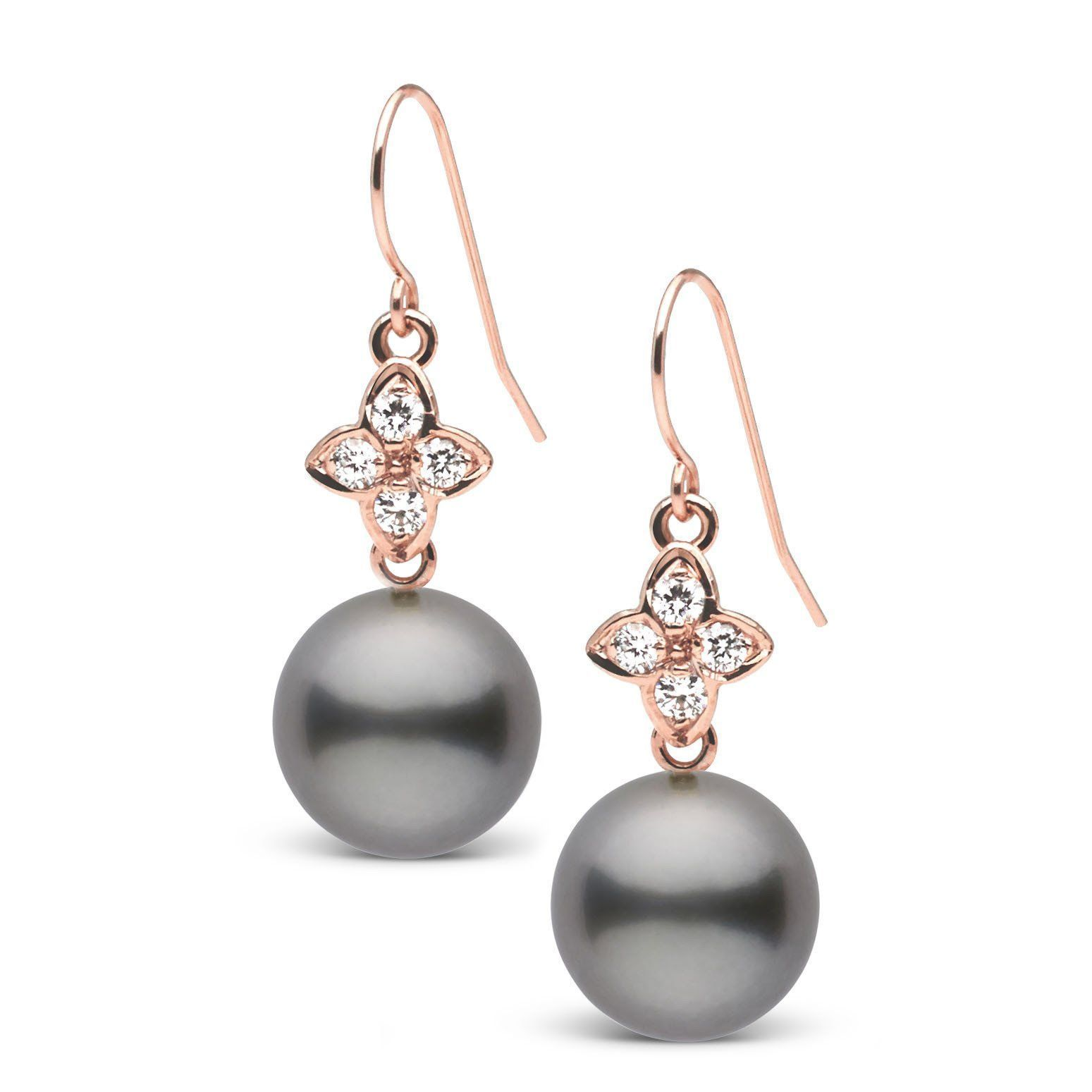 Violet Collection Tahitian 9.0-10.0 mm Pearl and Diamond Earrings