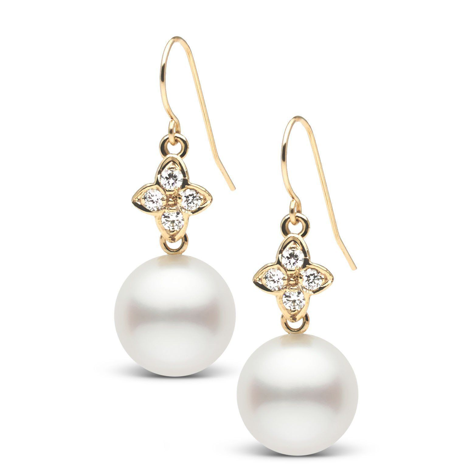 Violet Collection White South Sea 10.0-11.0 mm Pearl and Diamond Earrings
