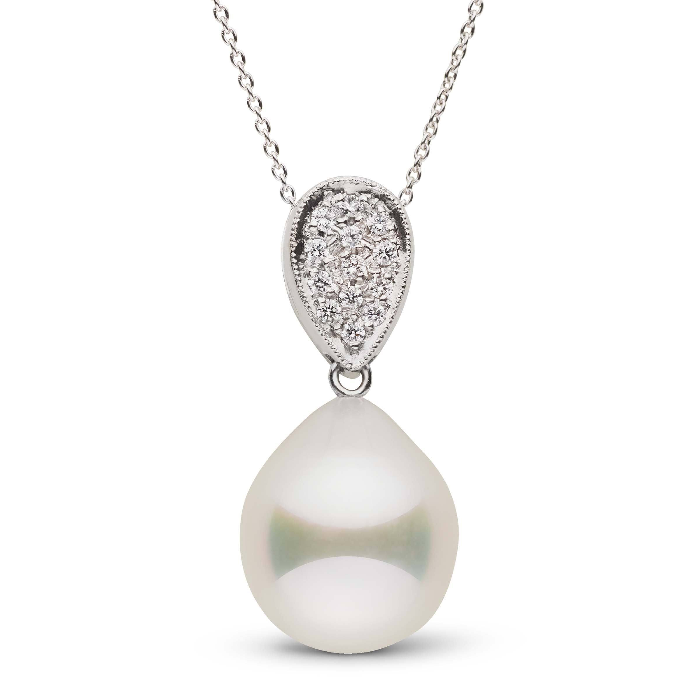 Perfect White South Sea Pearl Drop with Diamonds Set in Platinum