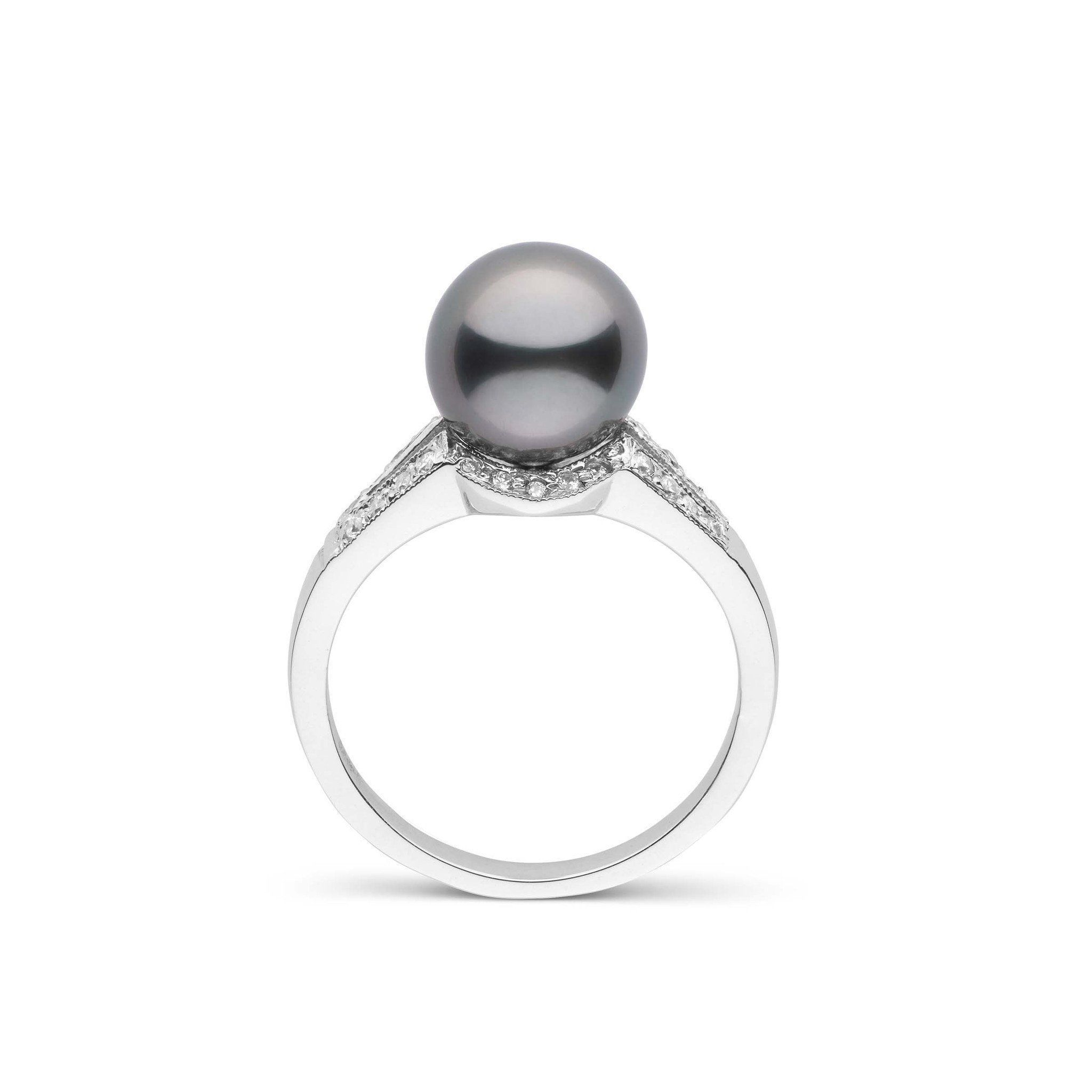 Vixen Collection Tahitian Pearl and Diamond Ring 14K