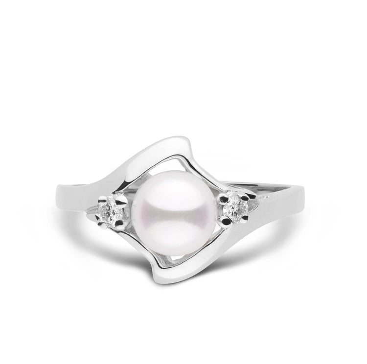 Wave Collection Akoya Pearl and Diamond Ring in Sterling Silver