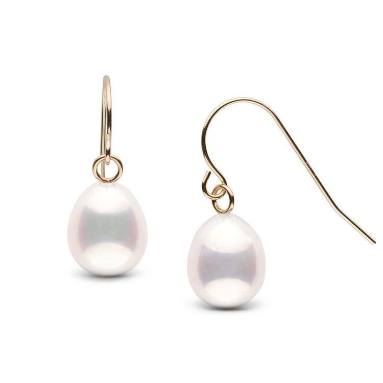 White Metallic Drop 7.0-8.0 mm Pearl French Wire Earrings