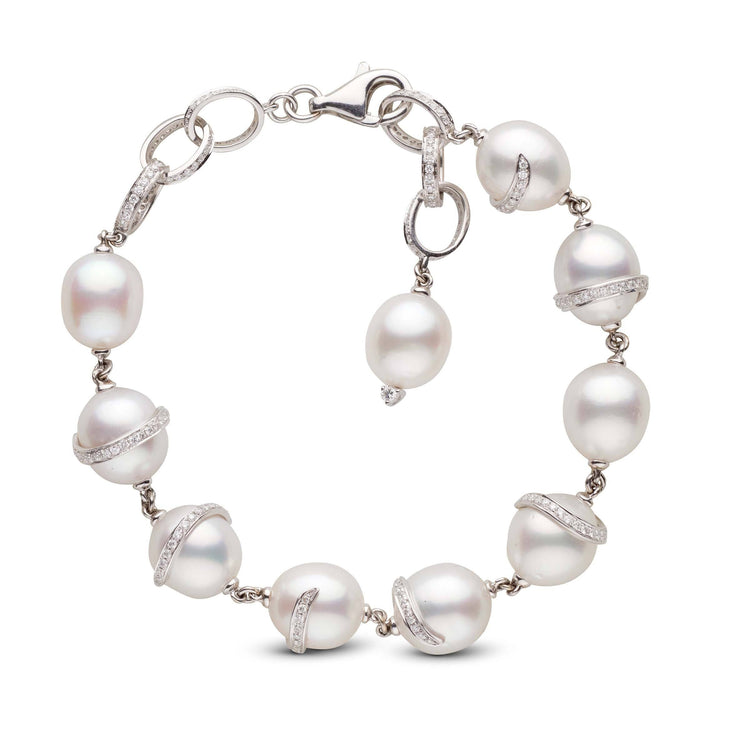 White South Sea Drop Pearl and Diamond 18K Gold Link Bracelet