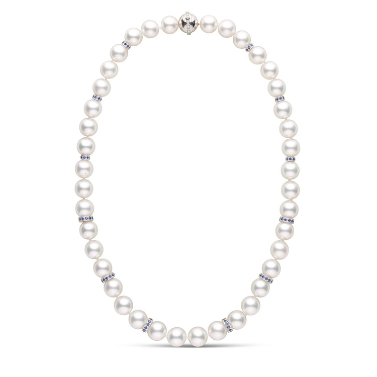 White South Sea Pearl Necklace with Diamond and Sapphire Rondelles