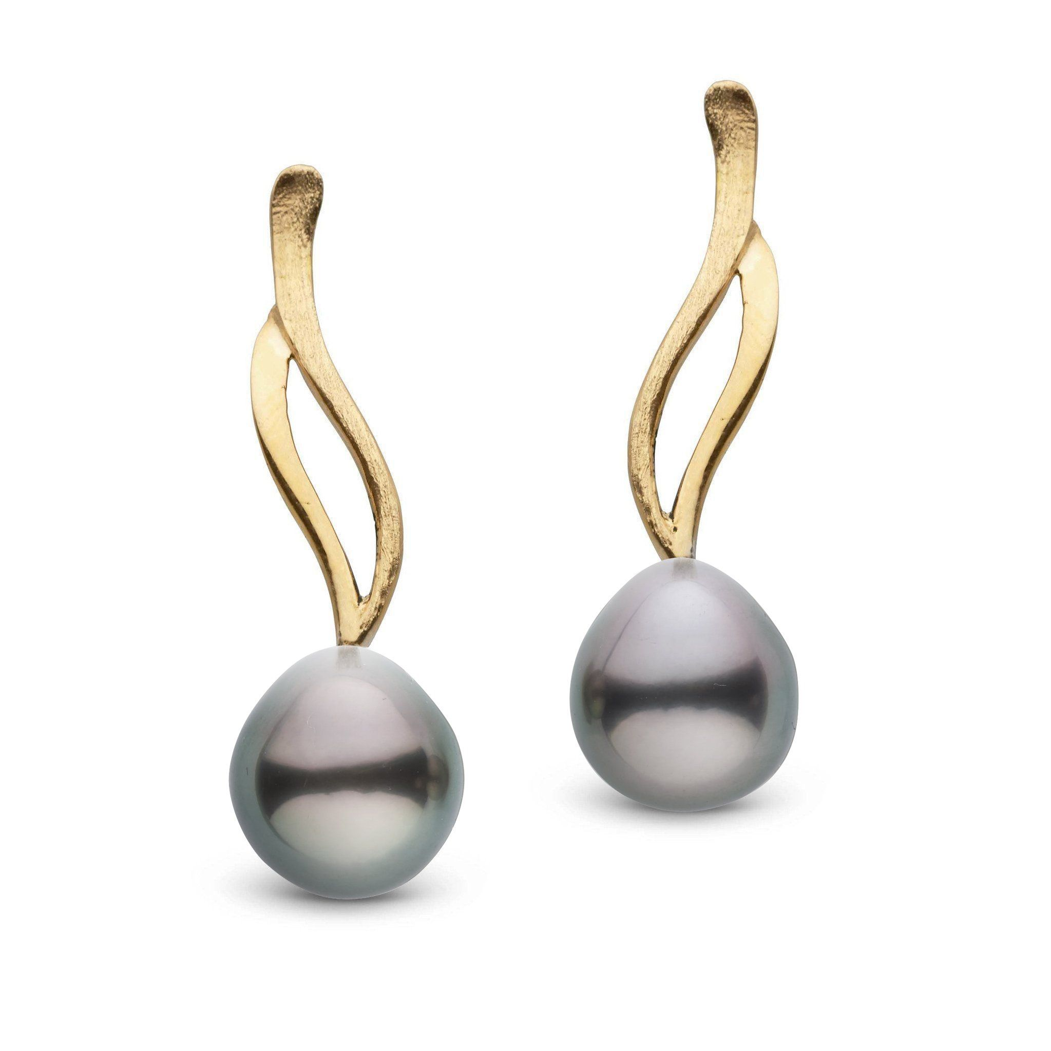 Wisp Collection Tahitian Drop 8.0-9.0 mm Pearl Earrings