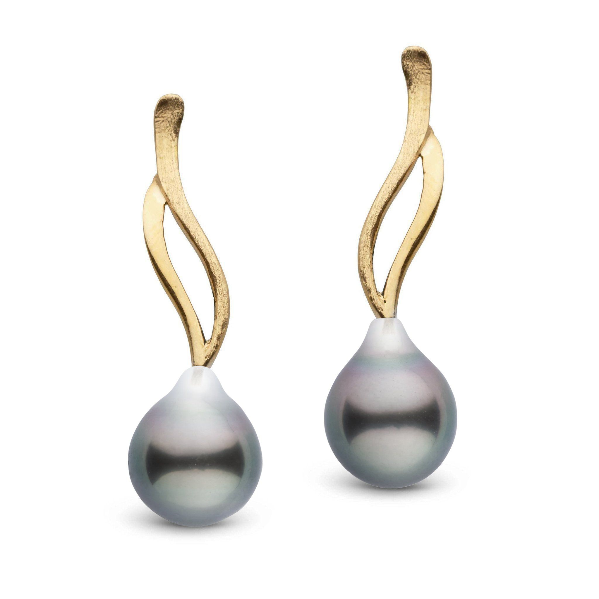 Wisp Collection Tahitian Drop 9.0-10.0 mm Pearl Earrings