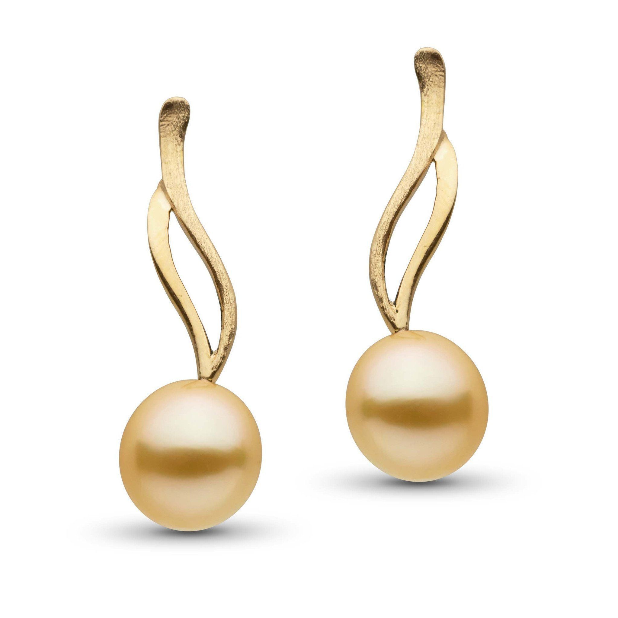 Wisp Collection Drop Golden South Sea 9.0-10.0 mm Pearl Earrings