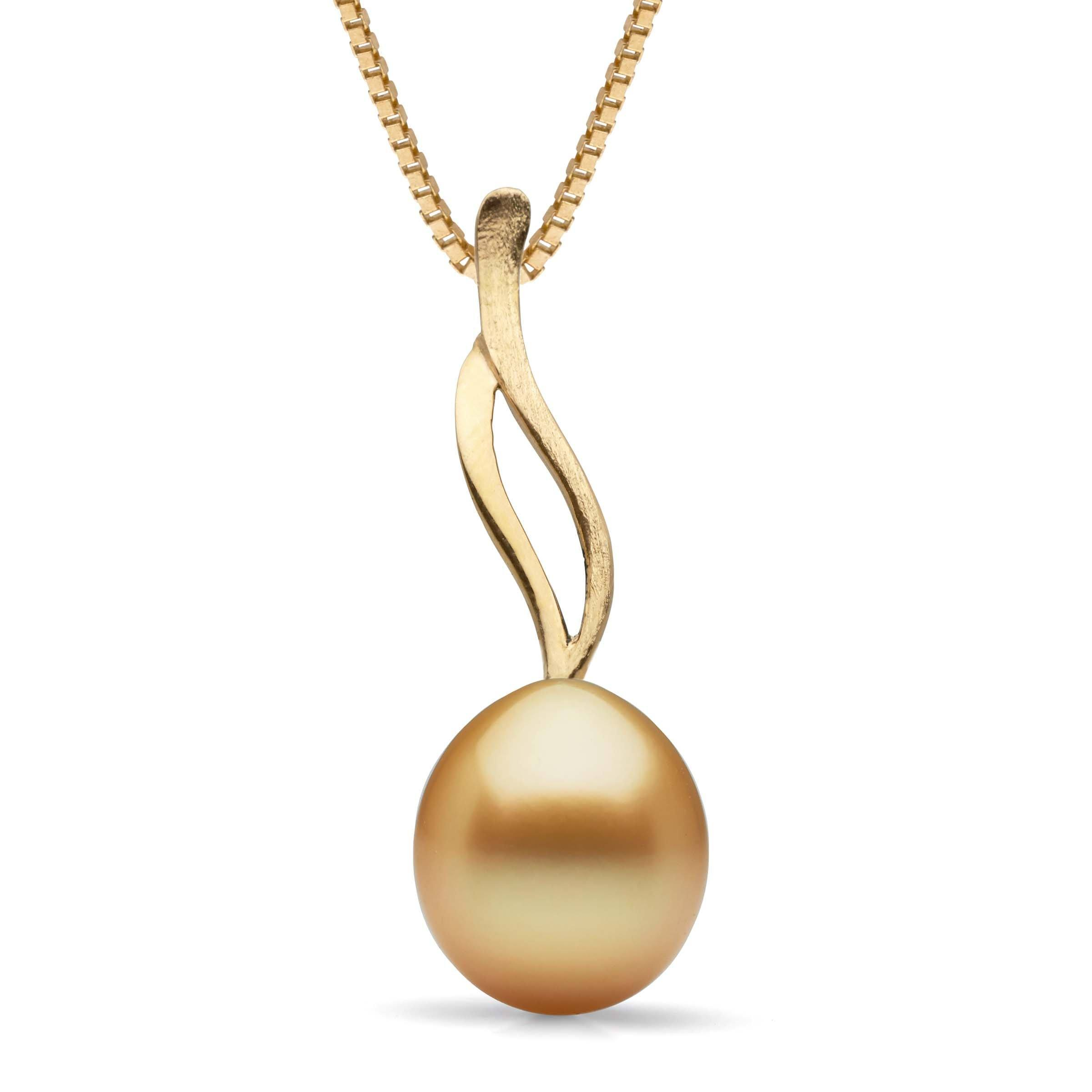 Wisp Collection Golden 9.0-10.0 mm South Sea Drop Pearl Pendant