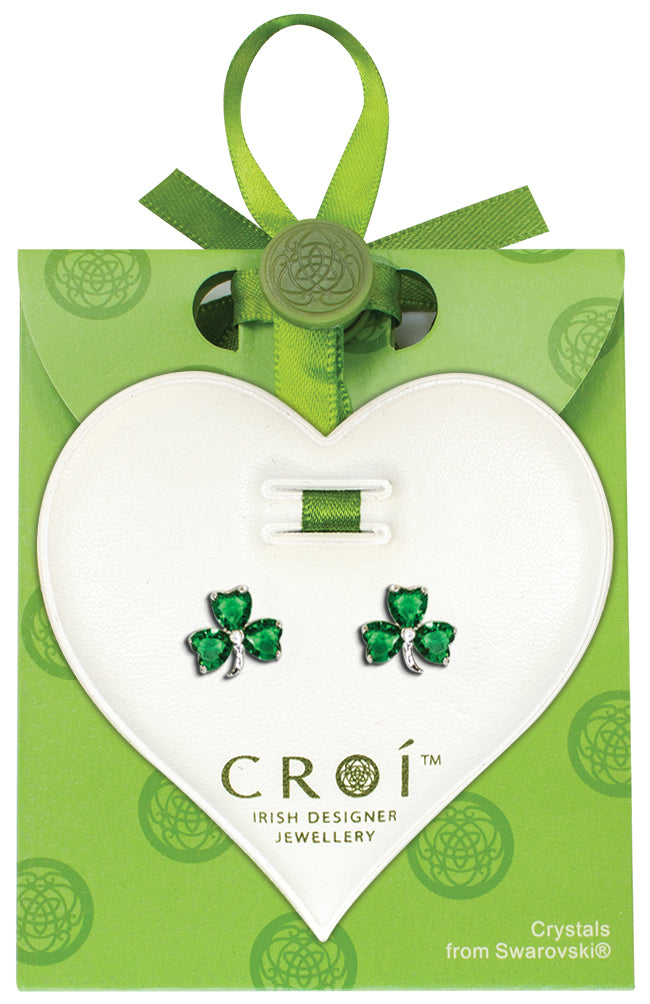 Shamrock Swarovski Crystal Earrings