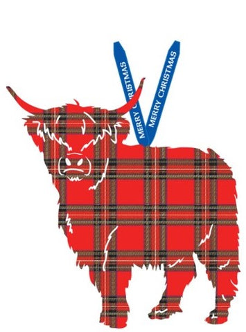 Tartan Highland Cow Ornament