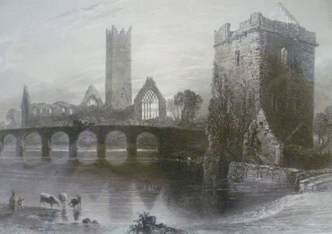 Antique Steel Engraving - The Abbey of Clare, Galway