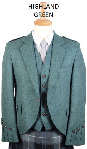 Argyll Tweed Jacket & 5 Button Vest - Greens