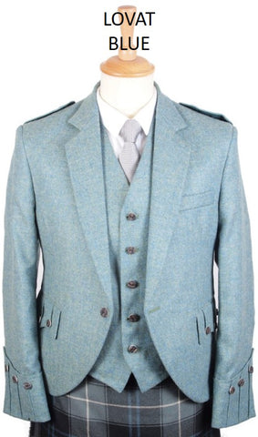 Argyll Tweed Jacket & 5 Button Vest - Blues