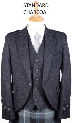 Argyll Tweed Jacket & 5 Button Vest - Charcoals & Greys