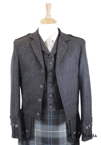 Balmoral Tweed Jacket & 5-Button Vest - Charcoals & Greys