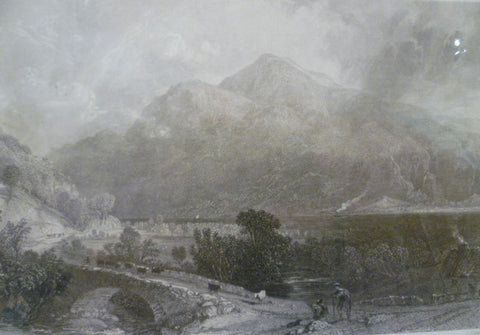 Antique Steel Engraving - Ben Lomond from Inveruglas