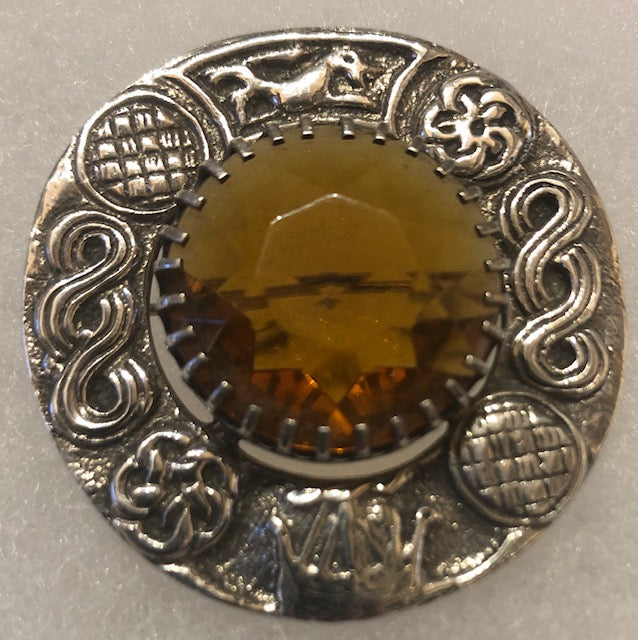 Brooch - Sterling Silver with dark yellow stone