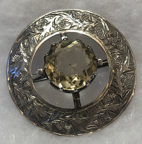Brooch - Sterling Silver with Citrine