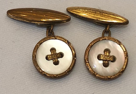Gold Plated and Mother of Pearl Cuff Links